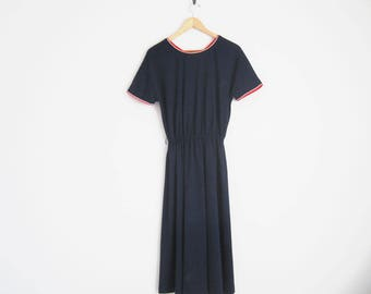 Vintage 70s Dress. Navy Blue Dress with Red White Trim. A-Line Dress. Elastic Waist. Classic Americana Dress.