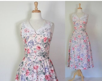 ON SALE Vintage 80s Lanz Originals Floral Cotton Sundress