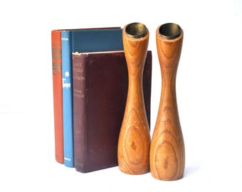 Pair of Mid-Century Wood and Brass Candlestick Holders