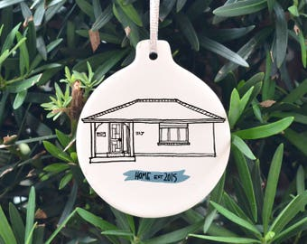 custom home ornament, personalized illustrated house ornament, christmas ornament, hand painted illustration, our first home, house portrait