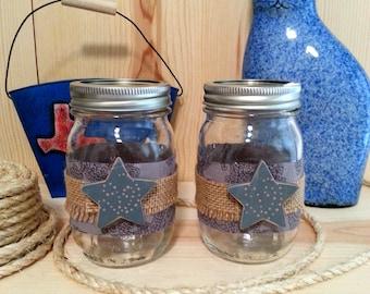 Decorated Mason Jar Set, Decorative Jars with Burlap and Gray Stars, Texas Decor, Primitive Decor, Rustic, Farmhouse Decor, Patio Jar Lights