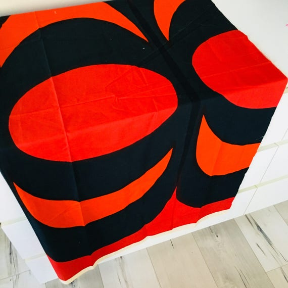 Vintage Red Marimekko Designer Cotton Fabric MAIJA ISOLA Design 1965 Navy Blue Orange Scandinavian Textile