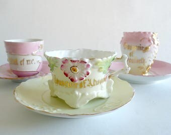 3 Vintage Tea Cups and Saucers Souvenir Teacup Germany 1930's