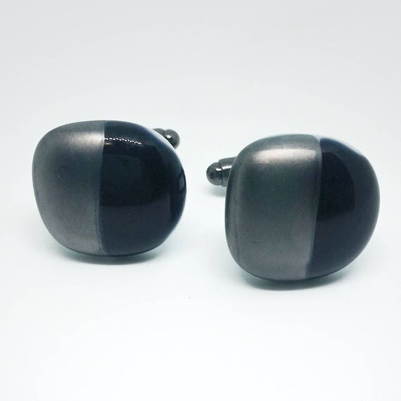 Silver and Black Glass Cuff links
