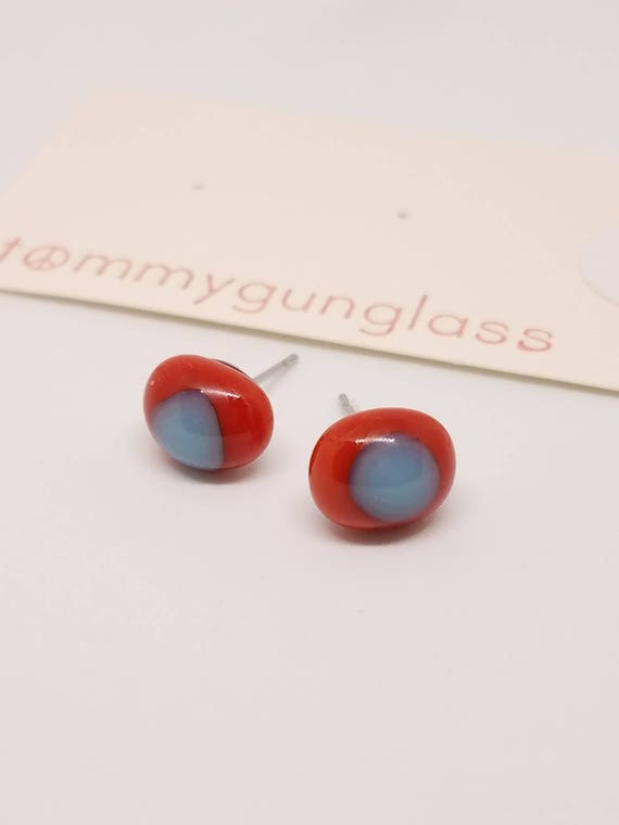 Red and Blue Glass Stud Earrings