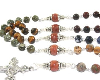 3 Holy Hearts Catholic Rosary, Mixed Gemstone Beads, Unique Man's Rosary