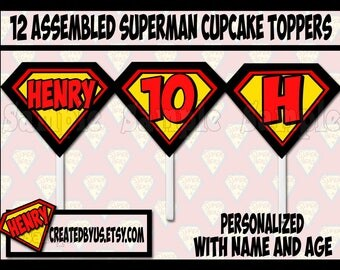 Superman Cupcake Toppers Superman Birthday Party Decorations Custom Super man favors cupcake picks cake topper cupcake top 12 assembled