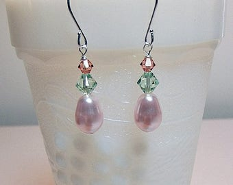 40% OFF SALE thru Tues Swarovski Pink Peach Rose Green Pearl Crystal Drop Earrings, Christmas Mother Wedding Bridesmaid Mom Birthday Sister