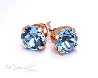 Aquamarine Bridal Earrings Blue Bride Earrings Rose Gold Wedding Jewelry Swarovski Crystal Stud Earrings Aqua Something Blue Bridesmaid Gift