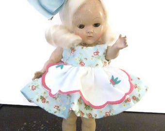 "Ginny Doll Floral Blue Dress 8"" Doll Dress Muffie Dress Doll Ginny Doll Dress with Apron"