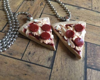 BFF Pepperoni Pizza Necklace Set Best Friends - Polymer Clay - Art by Sarah Price