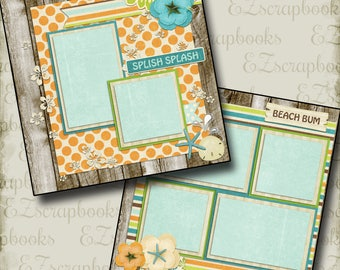BEACHY - 2 Premade Scrapbook Pages - EZ Layout 669