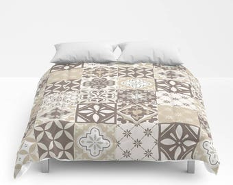 Catalina Tiles Duvet Cover or Comforter, Beige Ivory Tan Cream Off White Greige Taupe Grey Gray Cappuccino Brown Bedding Bedspread Twin Full