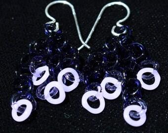 Purple Glass Chain Earrings