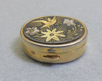 Damascene Enamel Bird and Flower Brass Tiny Pillbox