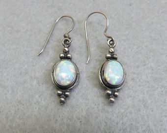 Real Opal Pierced Earrings, Sterling Silver Victorian Style, Vintage