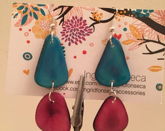 Sliced Tagua Nut Earrings, Boho chic