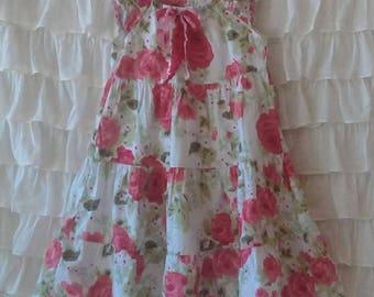 Altered Summer Dress, Girl's size 5 Toddler, Pink Cabbage Rose Cotton Dress, Savannah's Cottage Boutique