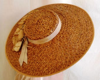 Vintage Late 1930s Wide Brim Straw Picture Hat Light Brown Garden Party with Felt Flowers