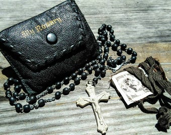Vintage Mens Black Rosary Beads Leather Case Brown Scapular Set Roman Catholic Prayer Virgin Mary Mother Jesus Christ Mysteries Sale