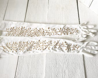 Vintage gloves hand painted white cotton full length size small gold vine/ free shipping US