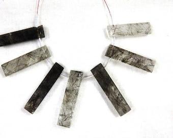 7Pc-Rutilated Quartz Beads,Black Rutilated Quartz Faceted Long Fancy Shape Beads AAA Quality Size -6x30MM Approx Rutilated Quartz Beads
