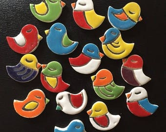 """Ceramic Fridge Magnet Set (2) colourful birdies 1.5"""" x1.5"""" (approximately) and strong silver tine magnet for fridge decor"""
