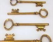 "ON SALE Rowling - Skeleton Keys - 10 x Antiqued Gold Skeleton Keys 80mm Large Skeleton Key Charms Vintage Keys Large Key Set 3"" Key Pendants"