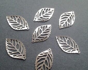 ON SALE 50 x Antiqued Silver Leaves Vintage Filigree Silver Thin Leaf Pendants 23.5x14mm Earring Leaf Charms Leaf Bracelet Pendants