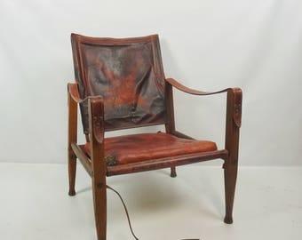 Vintage Kaare Klint Safari Chair Antique Denmark Leather Roorkhee