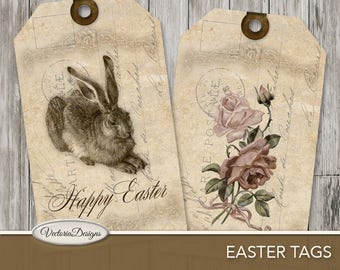 Easter Tags instant download printable gift tags paper crafting scrapbooking junk journal easter party instant digital Sheet - VD0358