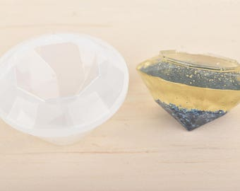"RESIN Mold, DIAMOND Silicone Mold to make square diamond shape 1-3/4"" x 1-1/8"" (45x28mm), soap mold, clay mold, reusable, tol0789"