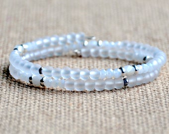 White Frost & Sparkle Dainty Wrap Bracelet
