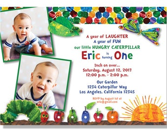 Hungry Caterpillar Photo Birthday Invitations - Digital File