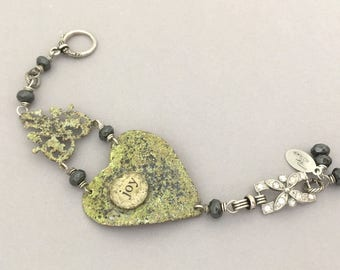 RESERVED For JUDY - Unique Handmade Heart Bracelet - Rhinestone Bracelet - Green Enamel Bracelet - One of a Kind OOAK Bracelet Gift