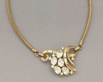Rhinestone Jewelry Necklace - Trifari Rhinestone Necklace - 1950s Vintage Rhinestone Collar Necklace - Clear Rhinestone Costume Jewelry