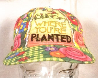 vtg 70s 80s busy Floral Bloom Where You're Planted Hat Cap strap Green gardener