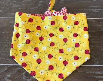 Dog-Cat Bandana-Scarf-Puppy-Kitten-Pet-Tie On Style-Reversible-Lady Bugs-Bones-Flowers-Spring-Red-Yellow.