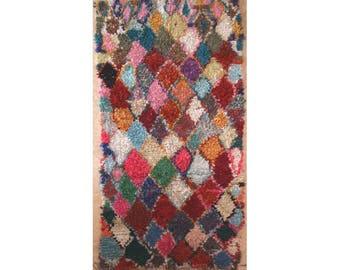 "260X140 cm 8'6"" x 4'7""      L31269  boucherouite , boucharouette,  moroccan rugs , berber rugs, morocco carpets"