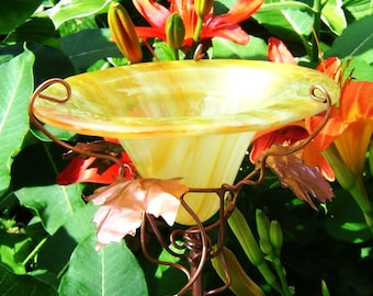 BUTTERFLY FEEDER, Stained Glass Garden, Pineapple YELLOW, Copper, Home Decor, Unisex Birthday Gift