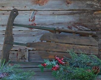 Antique Eskimo Toy Wooden Snow Sled, Christmas Antiques,Primitive Winter Decor