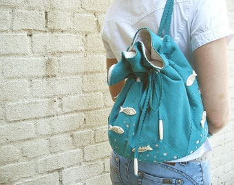 Handmade Turquoise Suede Backpack Leather Bag Faux Suede Backpack Blue Suede Bag Fish Bag Summer Vacation Bag Small Backpack Unique Handbag