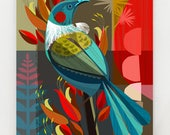 New Zealand Tui in the Flax, print