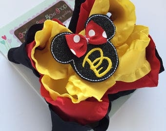 Miss Mouse Bow - triple stacked initial bow - Classic red, black and yellow Miss Mouse Bow - optional headband