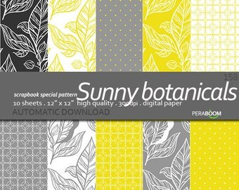 BUY 3 FOR 8 USD Yellow and gray digital paper pack floral digital paper leaves print botanical commercial use hand drawn printable, download