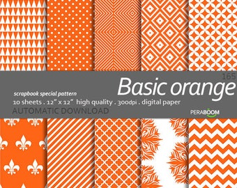 Orange digital paper, Basic orange, Background orange scrapbook paper, Orange digital paper pack, Orange printable paper, Orange background