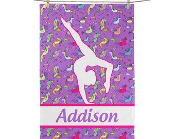 Personalized Gymnastics Gymnast Sports Towel for Gym and Practices Hand Towel Gym Bag Towel Gift Unicorn Unicorns