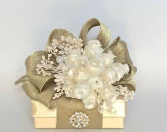 Gift Box Jewelry Gift Box Gold White Gift Boxes Wedding Favor Box Jewelry Box Pre-wrapped Box Bridesmaid gift Elegant, Romantic, Rhinestone