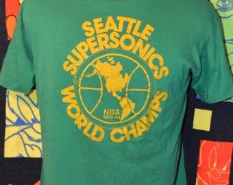 "Vintage 1979 Seattle Supersonics ""World Champs"" shirt!!! Sonics NBA Paper Thin, 50/50 Tee!!!"
