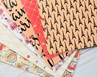 French Themed A5 Dividers // Set of 6 // Planner Dividers // Travel Planner // Paris